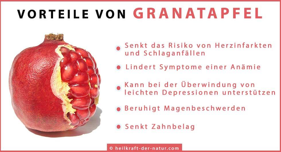 Übersicht Vorteile von Granatapfel