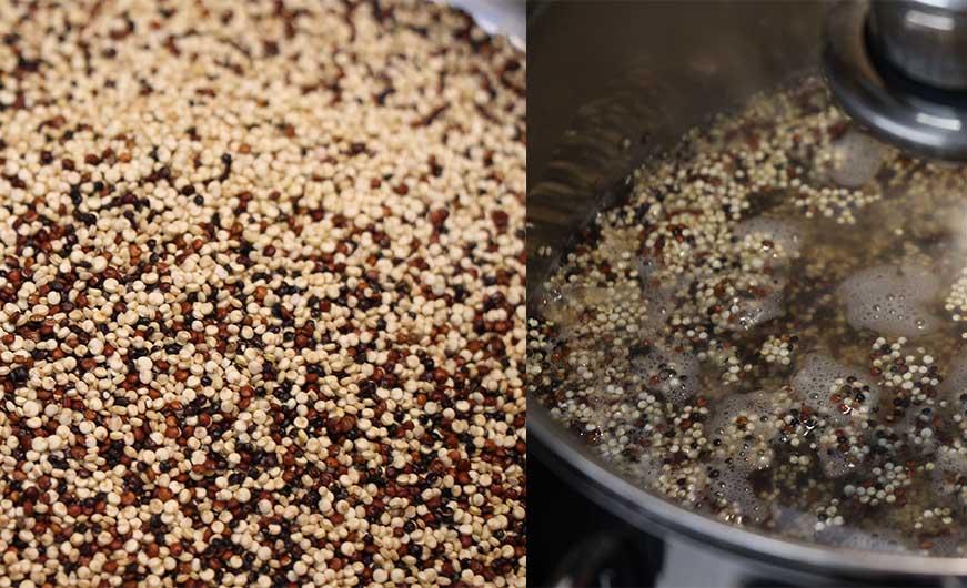 Quinoa ungekocht und im Topf mit Wasser und Deckel