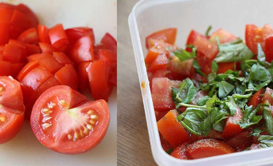 Tomatensalat mit frischem Basilikum und Gewürze