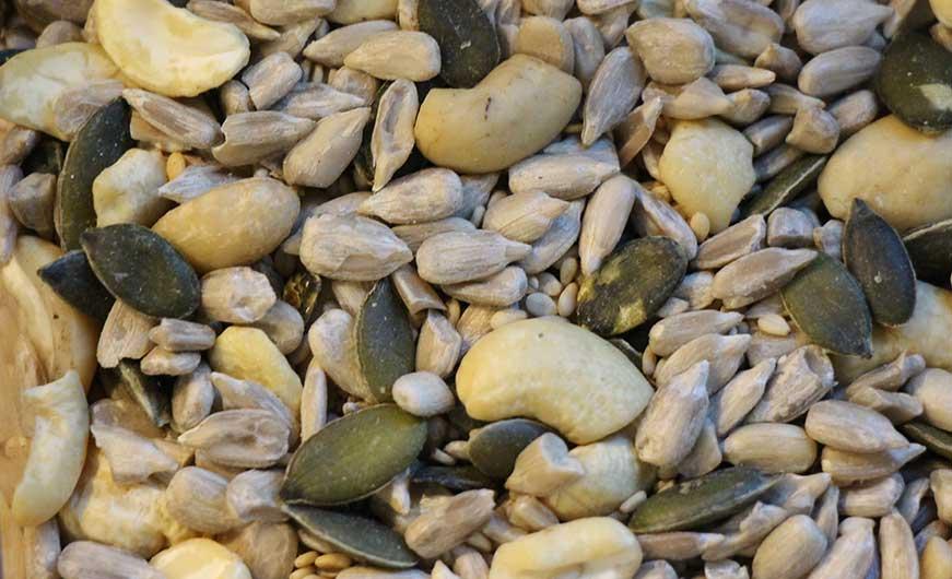 verschiedene Körner, Samen und Nüsse- Cashew, Sesam, Sonnenblumenkerne
