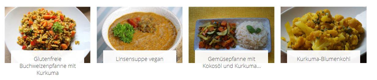 verschiedene Gerichte mit Kurkuma