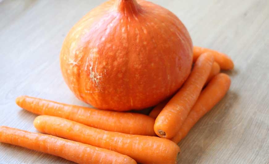 gwaschener Hokkaidokuerbis und Karotten
