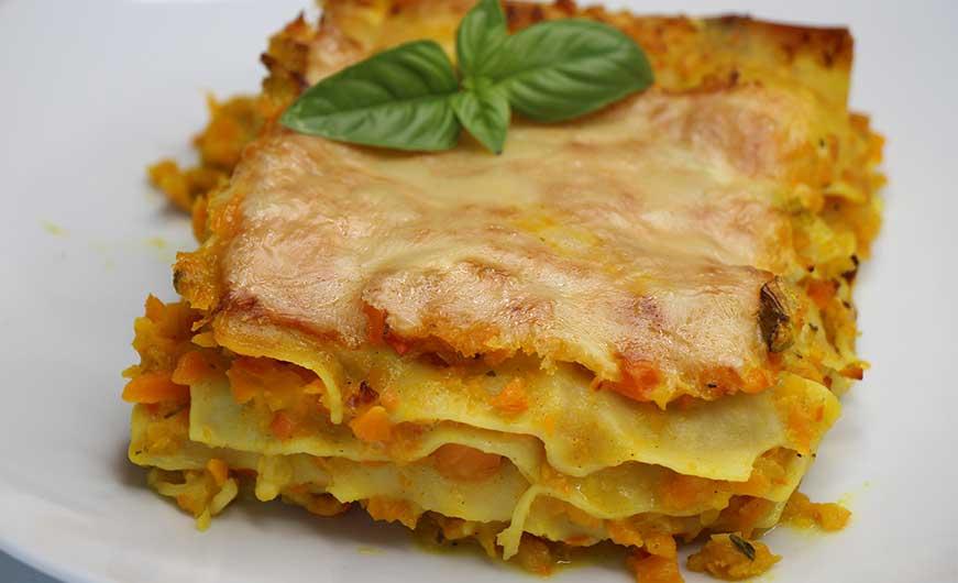 Kuerbis-Karotten-Lasagne
