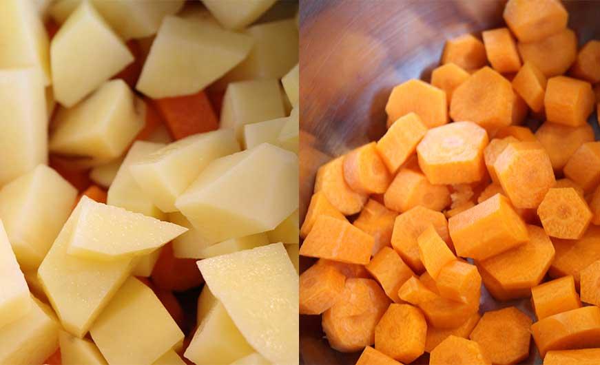 geschnittene Gemuesewürfel Karotte Kartoffel