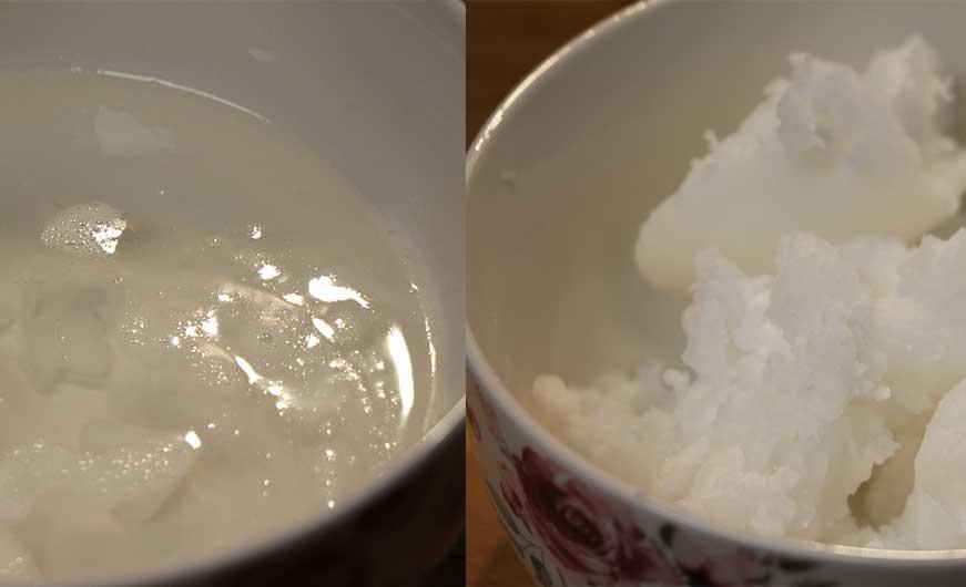 kokosöl vor und nach dem erhitzen