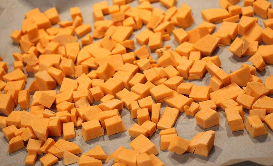 Süßkartoffelwürfel
